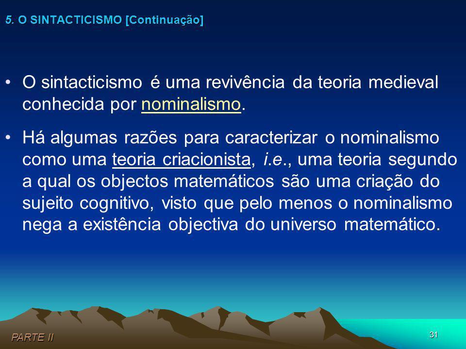 5. O SINTACTICISMO [Continuação]